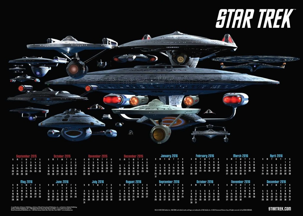 Universe Publishing Star Trek 16 month 2016 calendar poster